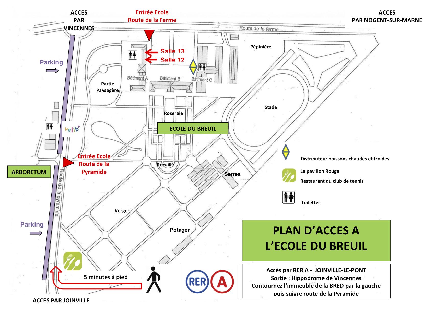 Plan d'accès à l'école Du Breuil